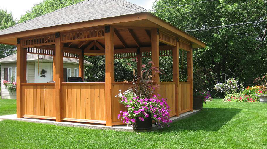 gazebo en bois pour spa. Black Bedroom Furniture Sets. Home Design Ideas